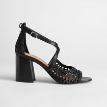 & Other Stories Open Toe Casual Style Plain Leather Block Heels Party Style