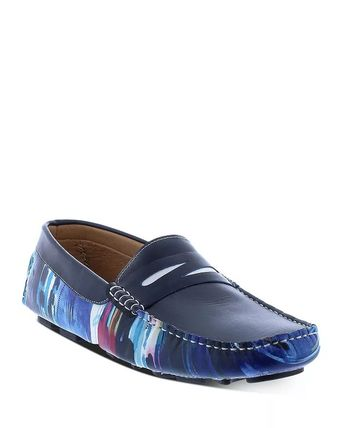 Plain Toe Moccasin Loafers Street Style Plain Leather