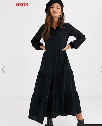 Casual Style Long Sleeves Plain Long Dresses