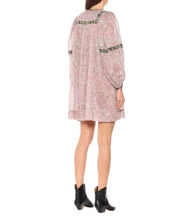 Short Flower Patterns Casual Style V-Neck Long Sleeves