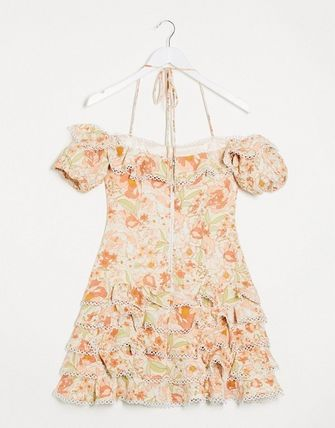 Short Flower Patterns Casual Style Dresses