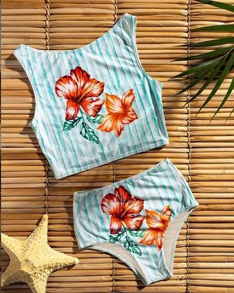 Stripes Flower Patterns Turtleneck Swimwear
