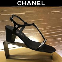 CHANEL Star Open Toe Plain Block Heels Party Style With Jewels