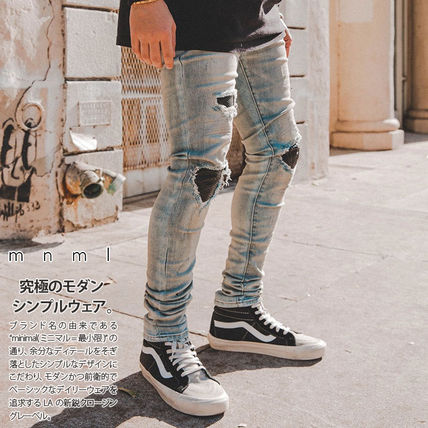 MNML More Jeans Printed Pants Unisex Denim Street Style Plain 3