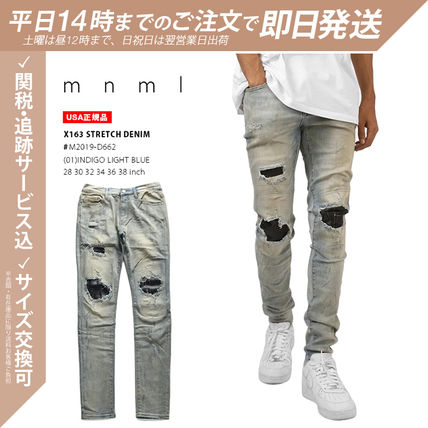 MNML More Jeans Printed Pants Unisex Denim Street Style Plain