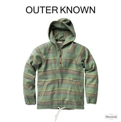 Pullovers Stripes Unisex Long Sleeves Cotton Hoodies
