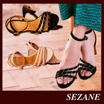 SEZANE Open Toe Casual Style Plain Leather Party Style