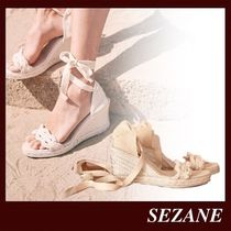 SEZANE Open Toe Platform Lace-up Casual Style Plain Leather