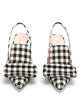 EMILIA WICKSTEAD Gingham Pin Heels Elegant Style Pointed Toe Pumps & Mules