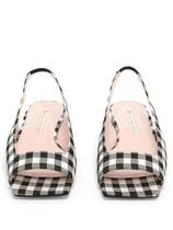 EMILIA WICKSTEAD Gingham Open Toe Square Toe Elegant Style