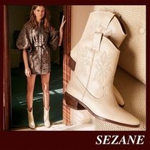 SEZANE Cowboy Boots Casual Style Plain Leather Block Heels Handmade