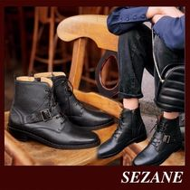 SEZANE Lace-up Casual Style Plain Leather Elegant Style
