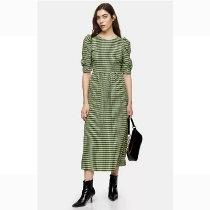 Gingham Casual Style A-line Street Style U-Neck Medium