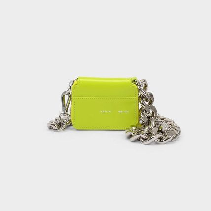 Calfskin Chain Plain Party Style Elegant Style Crossbody