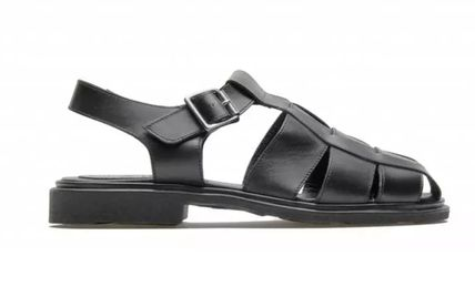 Open Toe Rubber Sole Casual Style Leather Handmade Sandals
