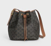 CELINE Triomphe Monogram Casual Style Unisex Calfskin Canvas Collaboration