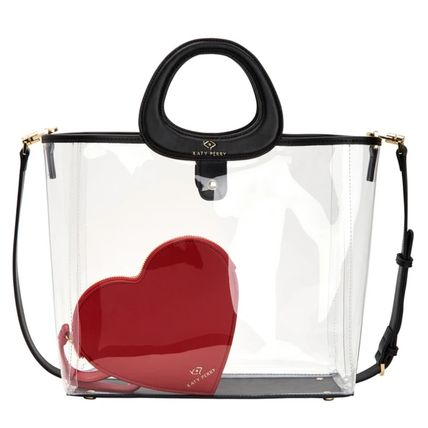 Casual Style Street Style A4 2WAY Plain Crystal Clear Bags