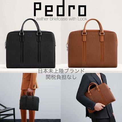 Pedro Calfskin A4 2WAY Plain Leather Logo Business & Briefcases