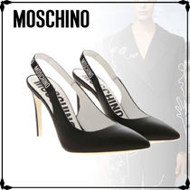 Moschino Rubber Sole Street Style Plain Leather Party Style