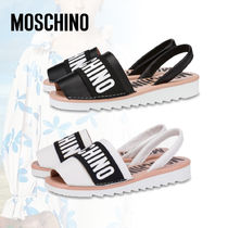 Moschino Open Toe Casual Style Street Style Plain Leather Logo