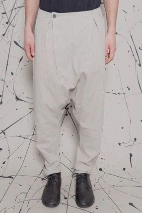 Tapered Pants Unisex Linen Street Style Plain Sarouel Pants