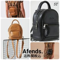 AFENDS Casual Style Street Style 3WAY Plain Leather Logo Bags