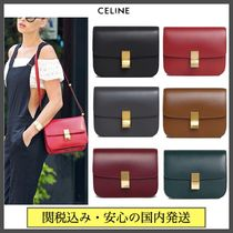 CELINE Classic Casual Style Calfskin Plain Leather Party Style Office Style
