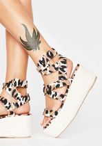 DOLLS KILL Leopard Patterns Open Toe Platform Casual Style Plain