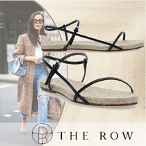 The Row Open Toe Casual Style Blended Fabrics Plain Leather
