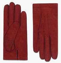 Berluti Plain Leather Logo Leather & Faux Leather Gloves