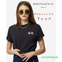 MAISON KITSUNE Crew Neck Unisex Plain Other Animal Patterns Cotton
