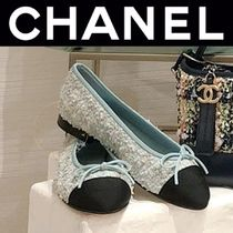 CHANEL ICON Tweed Street Style Bi-color Plain Handmade Logo Ballet Shoes