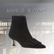Manolo Blahnik Casual Style Suede Plain Leather Party Style Elegant Style