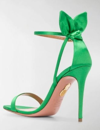 Open Toe Plain Pin Heels Elegant Style Heeled Sandals