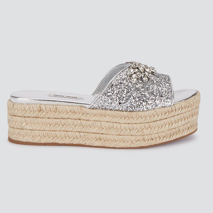Open Toe Platform Leather Party Style With Jewels
