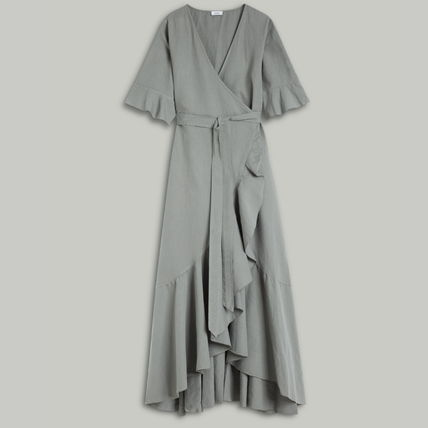 Wrap Dresses Casual Style Maxi Linen Flared V-Neck Plain
