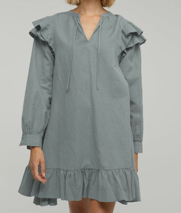 Short Casual Style A-line Linen Flared Long Sleeves Plain