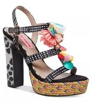 Betsey Johnson Gingham Stripes Leopard Patterns Round Toe Street Style