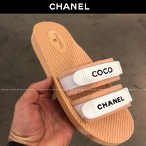 CHANEL Open Toe Casual Style Blended Fabrics Plain Footbed Sandals