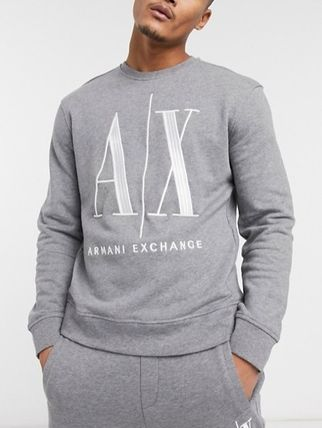 Street Style Long Sleeves Plain Logo Sweatshirts