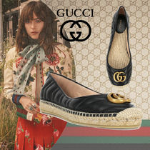 GUCCI Monogram Blended Fabrics Plain Leather Logo Ballet Shoes