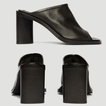 Ance Studios Open Toe Plain Leather Mules Heeled Sandals