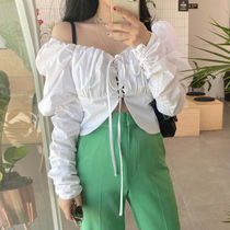 Short Lace-up Casual Style Peplum Bi-color Long Sleeves