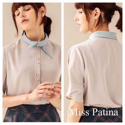 Plain Short Sleeves Elegant Style Icy Color Shirts & Blouses