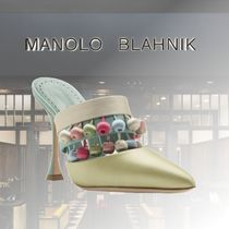 Manolo Blahnik Fur Leather Party Style Mules Icy Color Heeled Sandals