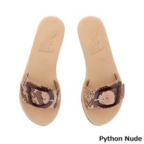 ANCIENT GREEK SANDALS Leopard Patterns Open Toe Casual Style Leather Python