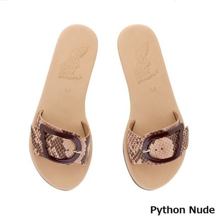 Leopard Patterns Open Toe Casual Style Leather Python