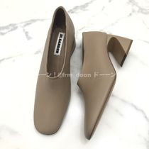 Jil Sander Square Toe Plain Leather Pumps & Mules