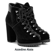 Azzedine Alaia Round Toe Rubber Sole Casual Style Plain Leather