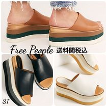 Free People Stripes Open Toe Platform Casual Style Plain Leather
